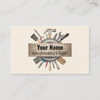 customizable handyman contractor tools v1 business card