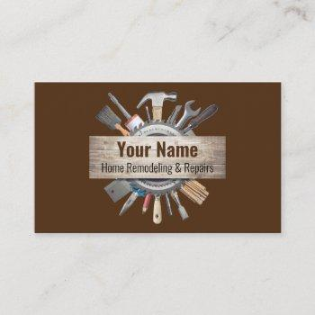 customizable handyman contractor tools v2 business card