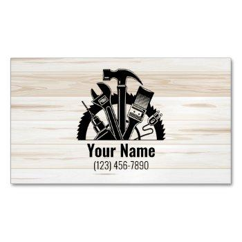 customizable handyman tools wood v1 business card magnet