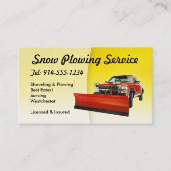 customizable snow plowing yellow business card