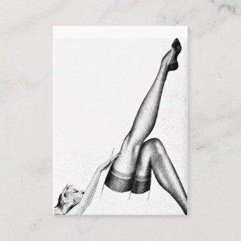 customizable vintage pinup lovely legs stockings business card