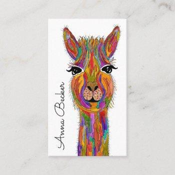 cute and colorful llama business card