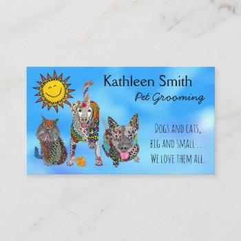 cute and colorful pet grooming business cards