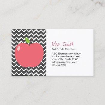 cute apple & chalkboard chevron stripes teacher business card