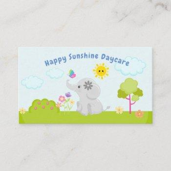 cute baby cartoon elephant and butterfly daycare business card