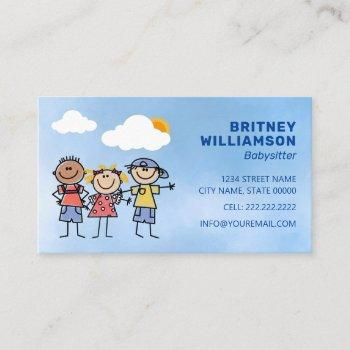cute babysitter childcare business card