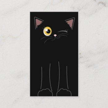 cute black cat pet sitting service business card