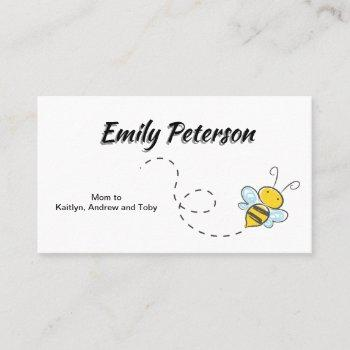 cute bumble bee in flight white mommy daddy calling card