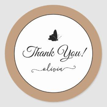 cute butterfly thank you labels cream beige tan