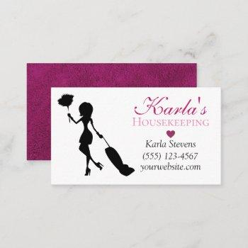 cute carpet design maid house cleaning services business card