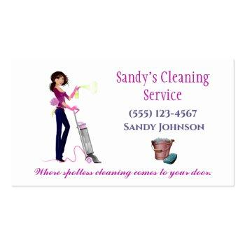 Small Cute Cartoon Maid Professional Cleaning Services Business Card Front View