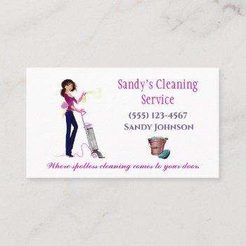 cute cartoon maid professional cleaning services business card