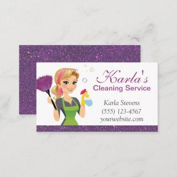 cute cartoon maid sparkle house cleaning services business card