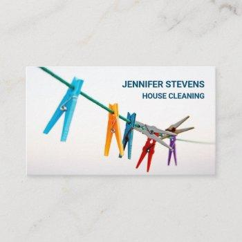 cute clothesline house cleaning maid housekeeper business card
