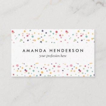 cute colorful confetti dots pattern business card