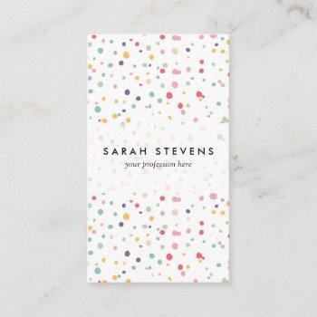 cute colorful confetti dots pattern business card