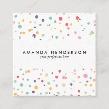 cute colorful confetti dots pattern square business card