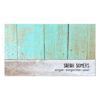 Small Cute Country Rustic Reclaimed Turquoise Wood Business Card Front View