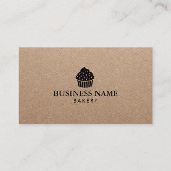 cute cupcake home bakery rustic kraft business card