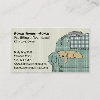 cute dog and cat pet sitting animal care services business card