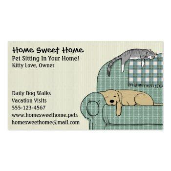 Small Cute Dog And Cat Pet Sitting Animal Care Services Magnetic Business Card Front View