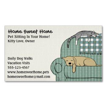 cute dog and cat pet sitting animal care services magnetic business card