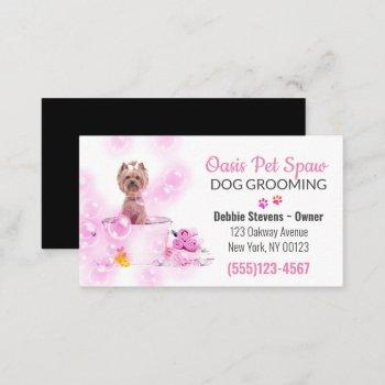 cute dog bathing pet grooming service business card