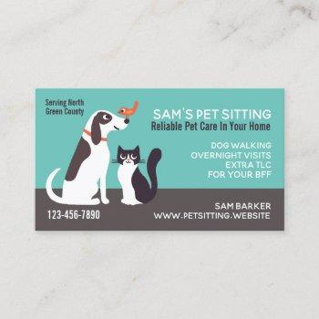 cute dog cat and bird | animal lover's pet sitting business card