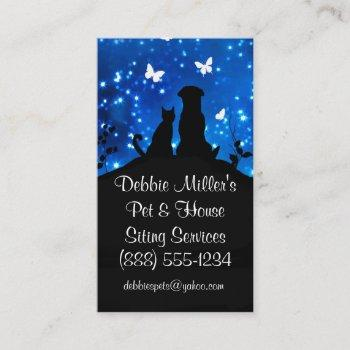 cute dog, cat and house sitting business cards