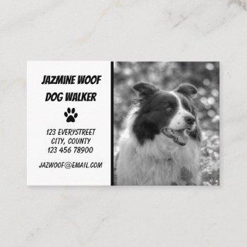 cute dog walker black white photo pet sitter business card