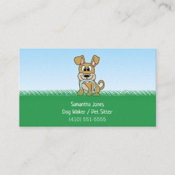 cute dog walker pet sitting services business card