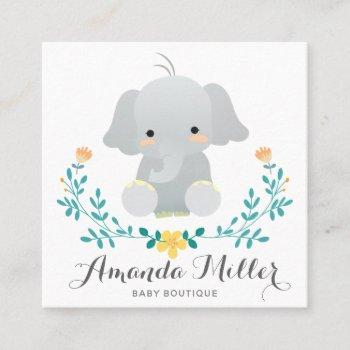cute elephant squared for baby business square business card