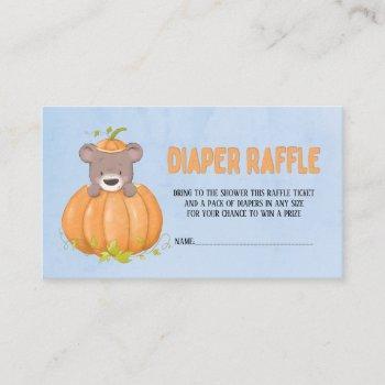 cute fall autumn bear pumpkin diaper raffle  business card
