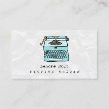 cute fiction writer with retro blue typewriter business card