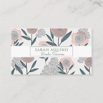 cute floral illustration doula business card