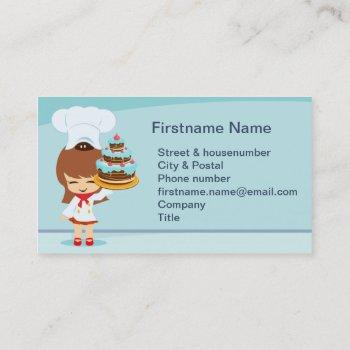 cute girl with chocolate cake business card