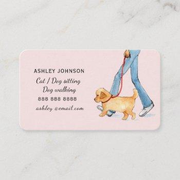 cute illustrated dog walking services business car business card