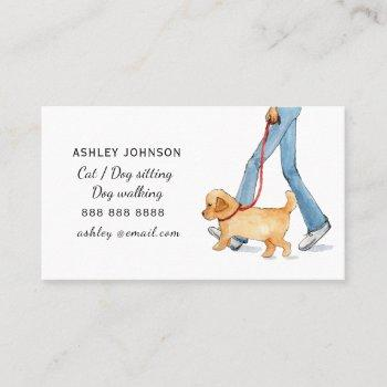 cute illustrated dog walking services business card