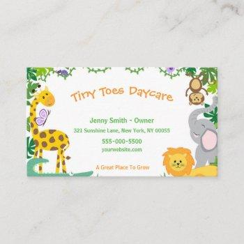 cute jungle animals child daycare babysitter business card