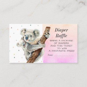 cute koala bear diaper raffle baby shower ticket