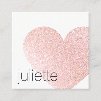 cute light pink glitter heart beauty salon square business card