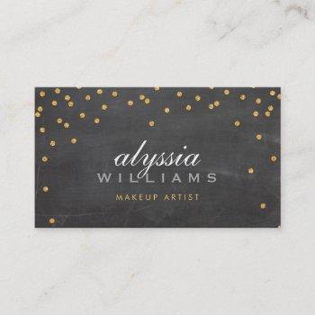 cute mini confetti gold sparkly glitter chalkboard business card