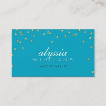 cute mini confetti gold sparkly glitter turquoise business card