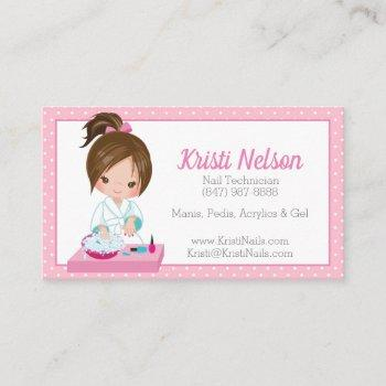 cute nail tech business card