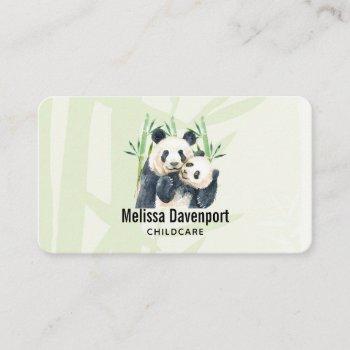 cute panda pair & bamboo watercolor business card