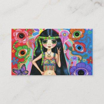 cute peace sign hippie girl business card