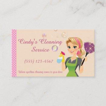 cute peach cartoon maid house cleaning services business card
