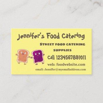 cute peanut butter and jelly sandwich cartoon business card