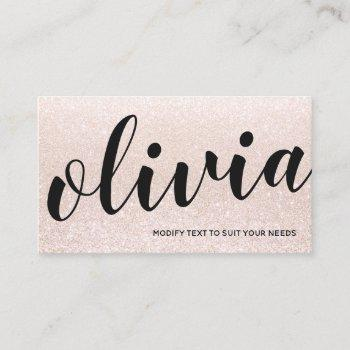 cute pink champagne glitter script calligraphy business card