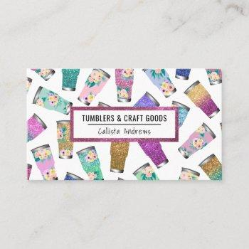 cute pink teal floral glitter tumbler crafter business card
